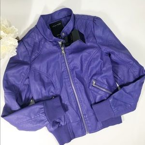 Therapy faux purple motto jacket